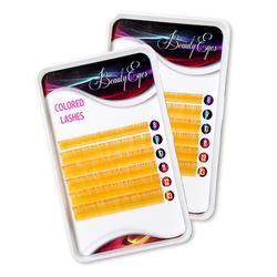 Ресницы цветные Beauty Eyes Golden Yellow 6 лент микс 8-13