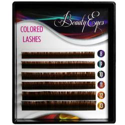 Ресницы коричневые Beauty Eyes 6 лент микс 8-13