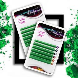 Ресницы цветные Beauty Eyes Green 6 лент микс 8-13